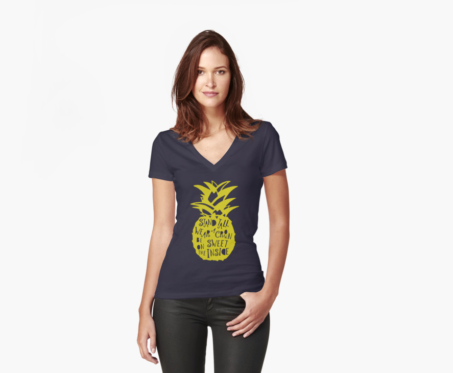 Stand tall pineapple shirt lavender and ochre for Womens tall v neck t shirts